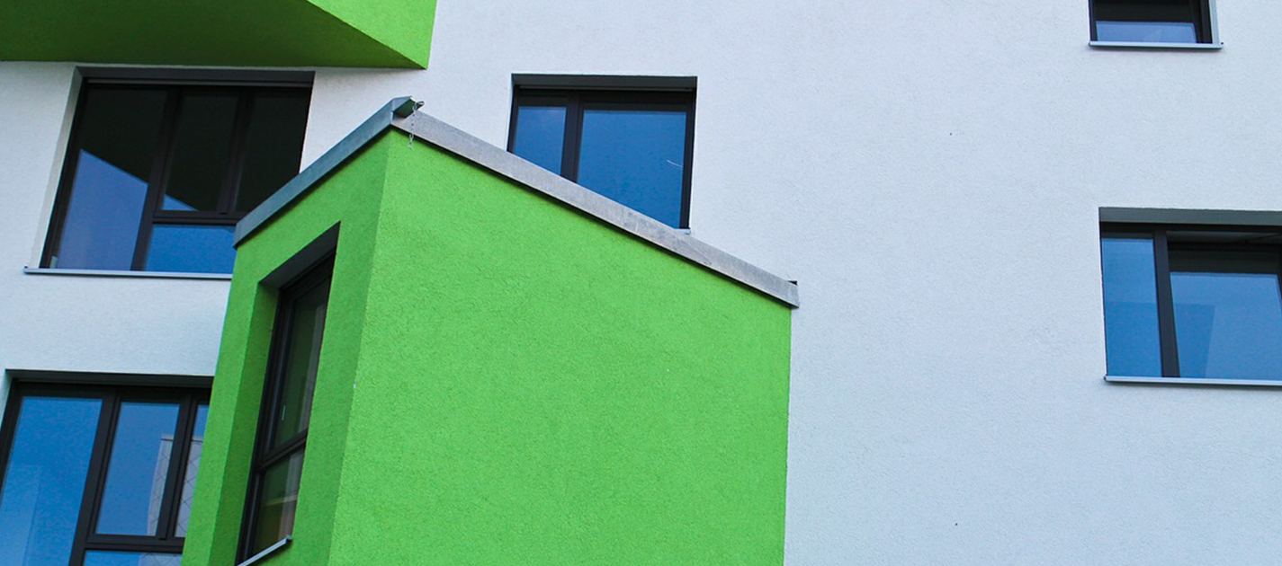 modern building with green window